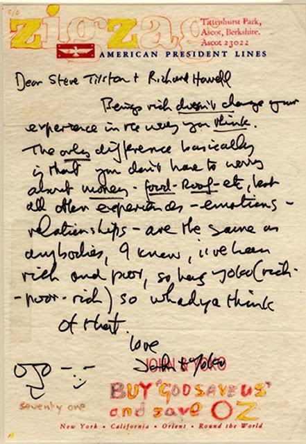 Carta de John Lennon para Steve Tilston
